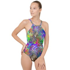 Rainbow Plasma Neon High Neck One Piece Swimsuit