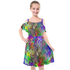 Rainbow Plasma Neon Kids  Cut Out Shoulders Chiffon Dress