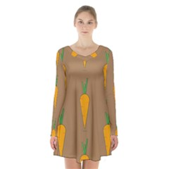Healthy Fresh Carrot Long Sleeve Velvet V-neck Dress