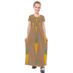 Healthy Fresh Carrot Kids  Short Sleeve Maxi Dress by HermanTelo