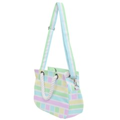 Geometric Pastel Rope Handles Shoulder Strap Bag by Bajindul