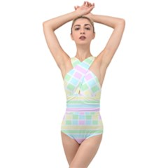 Geometric Pastel Cross Front Low Back Swimsuit by Bajindul