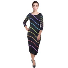 Wallpaper Background Colors Neon Quarter Sleeve Midi Velour Bodycon Dress by Bajindul