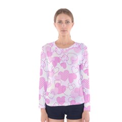 Valentine Background Hearts Women s Long Sleeve Tee by Bajindul