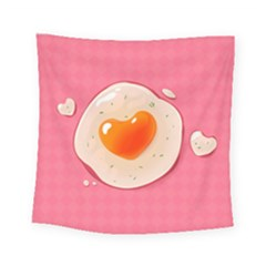 Omelette Heart Pink Valentine Square Tapestry (small) by Bajindul