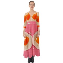 Omelette Heart Pink Valentine Button Up Boho Maxi Dress