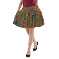 Fractal Abstract A Line Pocket Skirt by Bajindul