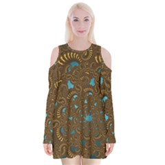 Fractal Abstract Velvet Long Sleeve Shoulder Cutout Dress by Bajindul