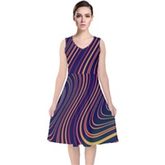 Fractal Mathematics Generated V Neck Midi Sleeveless Dress