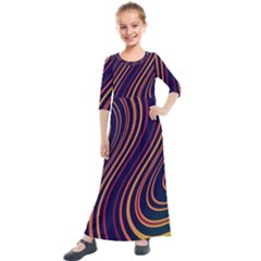 Fractal Mathematics Generated Kids  Quarter Sleeve Maxi Dress