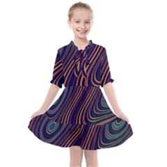 Fractal Mathematics Generated Kids  All Frills Chiffon Dress by Bajindul