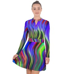 Lines Swinging Plasma Cross Long Sleeve Panel Dress