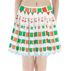 Christmas Bunting Banners Tasse Pleated Mini Skirt