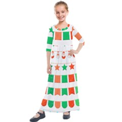 Christmas Bunting Banners Tasse Kids  Quarter Sleeve Maxi Dress