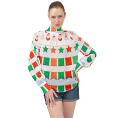 Christmas Bunting Banners Tasse High Neck Long Sleeve Chiffon Top by Bajindul