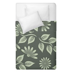 Flowers Pattern Spring Green Duvet Cover Double Side (single Size) by Bajindul
