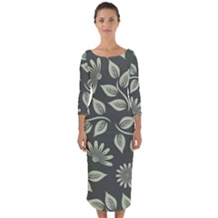 Flowers Pattern Spring Green Quarter Sleeve Midi Bodycon Dress by Bajindul