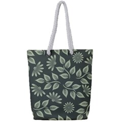 Flowers Pattern Spring Green Full Print Rope Handle Tote (small)