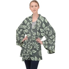 Flowers Pattern Spring Green Velvet Kimono Robe by Bajindul