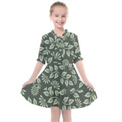 Flowers Pattern Spring Green Kids  All Frills Chiffon Dress by Bajindul