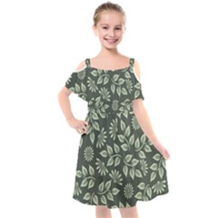 Flowers Pattern Spring Green Kids  Cut Out Shoulders Chiffon Dress by Bajindul