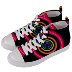 Neon Light Abstract Women s Mid-top Canvas Sneakers by Bajindul