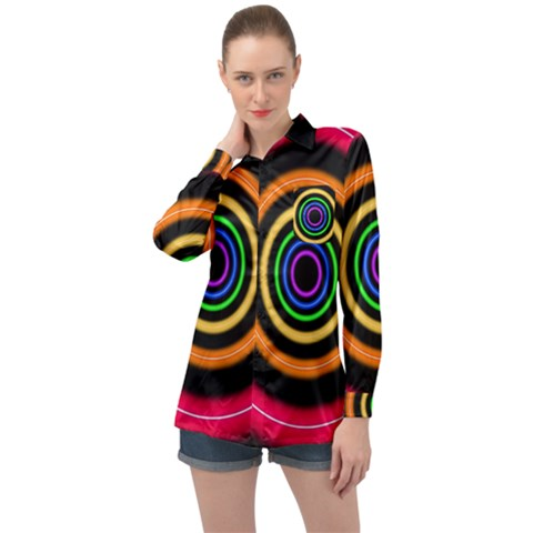 Neon Light Abstract Long Sleeve Satin Shirt by Bajindul