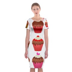Chocolate Cake Muffin Classic Short Sleeve Midi Dress by Bajindul