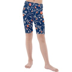 Midnight Florals Kids  Mid Length Swim Shorts by VeataAtticus