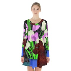 The Cat And The Tulips Long Sleeve Velvet V-neck Dress by bloomingvinedesign