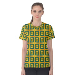 Green Plaid Star Gold Background Women s Cotton Tee