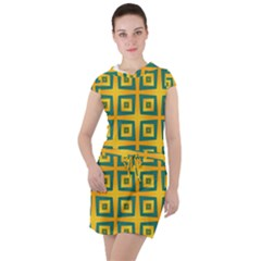Green Plaid Star Gold Background Drawstring Hooded Dress by Alisyart
