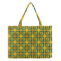 Green Plaid Star Gold Background Medium Tote Bag