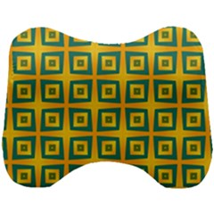 Green Plaid Star Gold Background Head Support Cushion by Alisyart