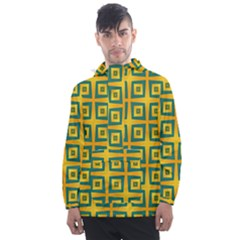 Green Plaid Star Gold Background Men s Front Pocket Pullover Windbreaker