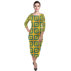 Green Plaid Star Gold Background Quarter Sleeve Midi Velour Bodycon Dress by Alisyart