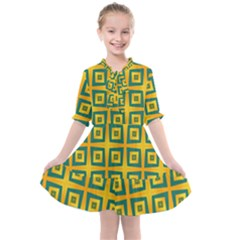 Green Plaid Star Gold Background Kids  All Frills Chiffon Dress by Alisyart