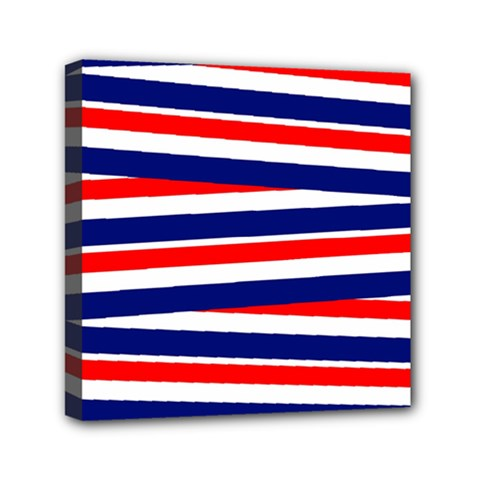 Patriotic Ribbons Mini Canvas 6  X 6  (stretched) by Mariart