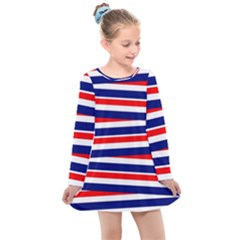 Patriotic Ribbons Kids  Long Sleeve Dress by Mariart