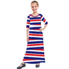 Patriotic Ribbons Kids  Quarter Sleeve Maxi Dress by Mariart