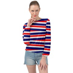 Patriotic Ribbons Banded Bottom Chiffon Top by Mariart