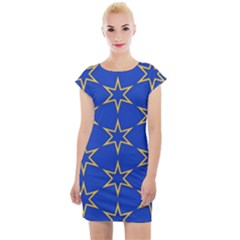 Star Pattern Blue Gold Cap Sleeve Bodycon Dress by Jojostore