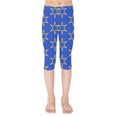 Star Pattern Blue Gold Kids  Capri Leggings  by Jojostore