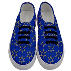 Star Pattern Blue Gold Men s Classic Low Top Sneakers