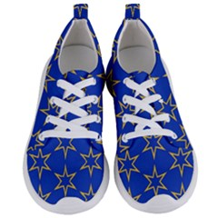 Star Pattern Blue Gold Women s Lightweight Sports Shoes