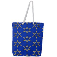 Star Pattern Blue Gold Full Print Rope Handle Tote (large)