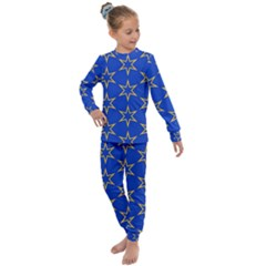 Star Pattern Blue Gold Kids  Long Sleeve Set  by Jojostore