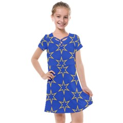Star Pattern Blue Gold Kids  Cross Web Dress