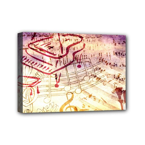 Scrapbooking Paper Music Mini Canvas 7  X 5  (stretched) by AnjaniArt