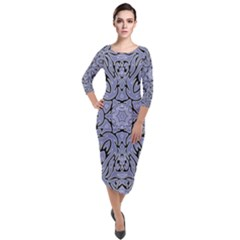 Mosaic Pattern Quarter Sleeve Midi Velour Bodycon Dress by Bajindul